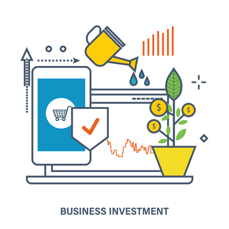 increase business: Concept of business investment - growth and protection of investments, increase profits. Color Line icons. Flat Vector illustration Illustration