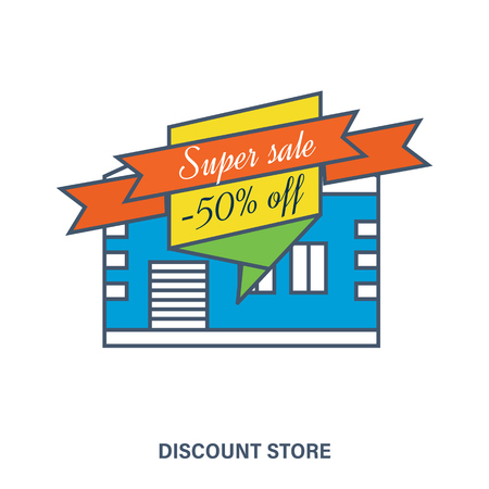 discount store: Concept of discount store. Mega discount. Special offer. Color Line icons. Flat Vector illustration