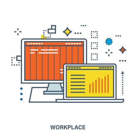 business confidence: Concept of workplace in office, organize office environment. Color Line icons. Flat Vector illustration Illustration