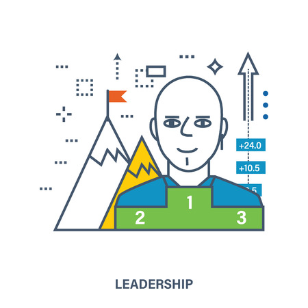 standing man: Concept of success or leadership concept with mountain landscape. Color Line icons. Flat Vector illustration