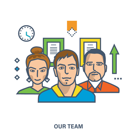 our people: Concept of our team, business people teamwork, team skills, management. Color Line icons. Flat Vector illustration