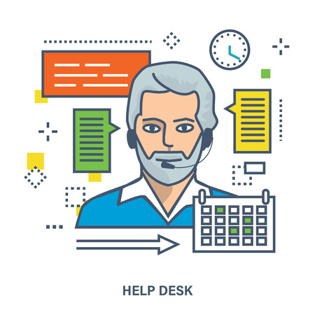 consultant: Concept of online support, consultant and call center. Color Line icons. Flat Vector illustration Illustration
