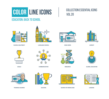 school work: Color thin Line icons set. School equipment, language school, desk work, library, science research, communication, training courses, success in education, knowledge.