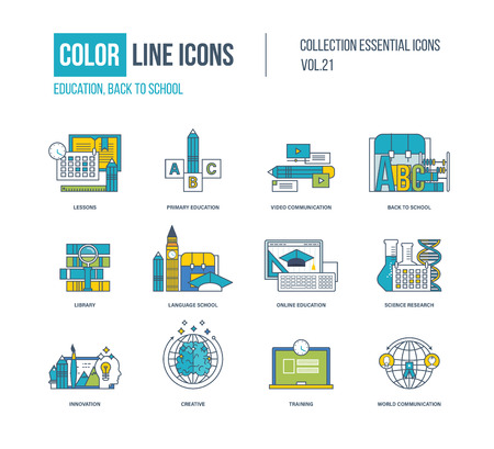 primary education: Color thin Line icons set. Lessons, primary education, video communication, back to school, library, language school, science research, innovation, creative, training Illustration
