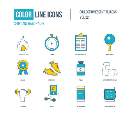sports training: Color thin Line icons set. Healthy lifestyle and sport,   award, strength training, mobile app, sports watch.
