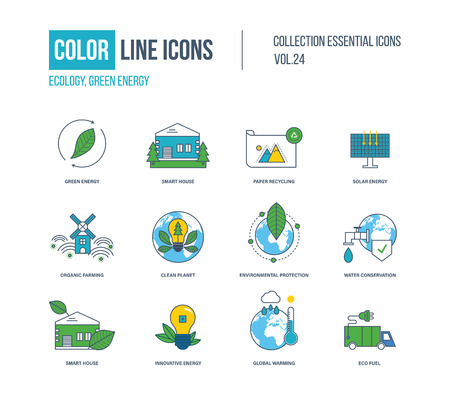 green fuel: Color thin Line icons set. Ecology, green energy, smart house, recycling, solar energy, organic farmer, clean planet, environmental protection, water conservation, innovative energy eco fuel