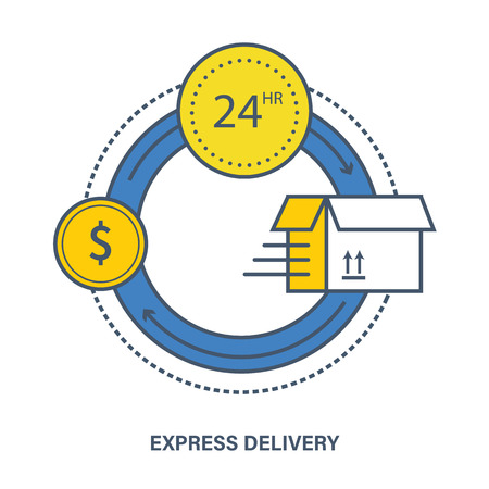 Concept of shopping, payment and express delivery. Color Line icons. Flat Vector illustration Illustration