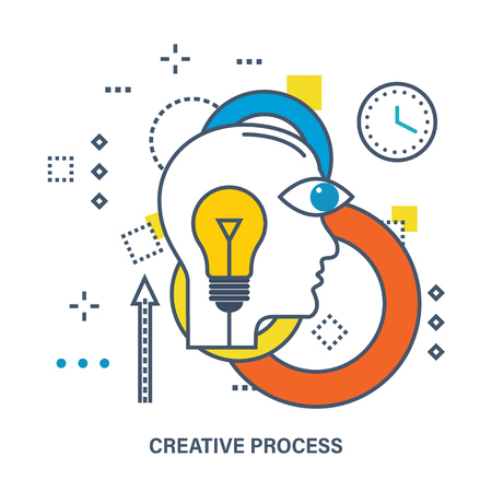 aspirational: Concept of creative process. Color Line icons. Flat Vector illustration