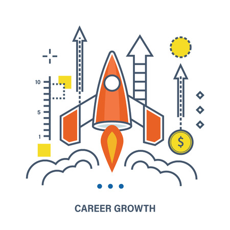 career up: Concept of career growth and start up business. Color Line icons. Flat Vector illustration Illustration