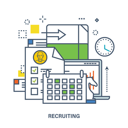 manager team: Concept of recruitment in work. Color Line icons. Flat Vector illustration. Can be used for banner, business data, web design, brochure template. Illustration