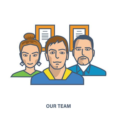 team concept: Concept of our team. Color Line icons. Flat Vector illustration Illustration
