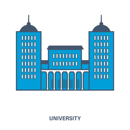 university building: University building. Flat Vector illustration. Can be used for banner, business data, web design, brochure template.