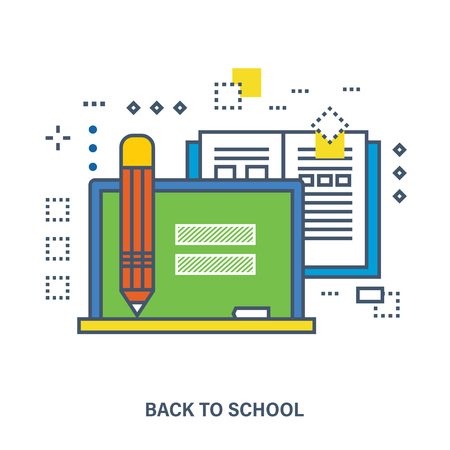 studying computer: Back to school flat icons design. Set of distance education and e-learning. Online course from universities and colleges proposes video-on-demand, forum, communication. Illustration