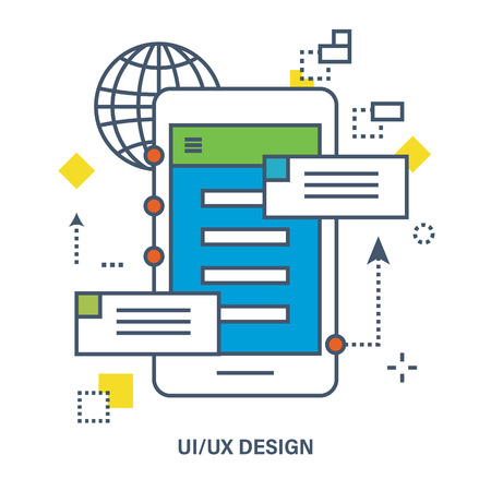 screenshot: Concept of ui ux design. Flat Vector illustration. Can be used for banner, business data, web design, brochure template. Illustration