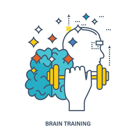 Concept of creative design and brain training. Flat Vector illustration. Can be used for banner, business data, web design, brochure template.