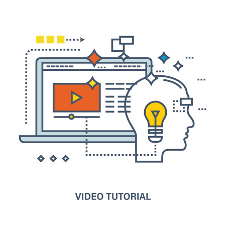 proposes: Concept of education and video tutorial. Color Line icons. Online course from universities and colleges proposes video-on-demand, forum, communication.
