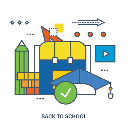 proposes: Back to school flat icons design. Set of distance education and corse program. Online course from universities and colleges proposes video-on-demand, forum, communication.
