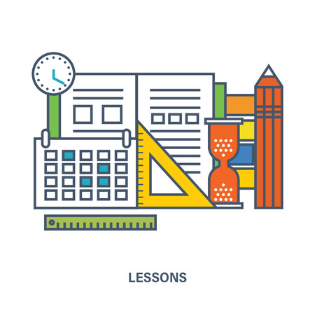 Concept de matériel scolaire et de leçon d'école. icônes Color Line. Flat Vector illustration
