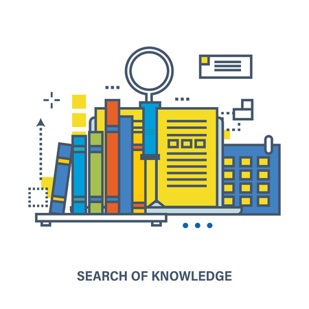 knowledge business: Concept of knowledge and online education. Flat Vector illustration. Can be used for banner, business data, web design, brochure template