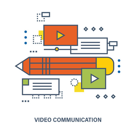 proposes: Concept of education and video communication. Color Line icons. Online course from universities and colleges proposes video-on-demand, forum, communication.