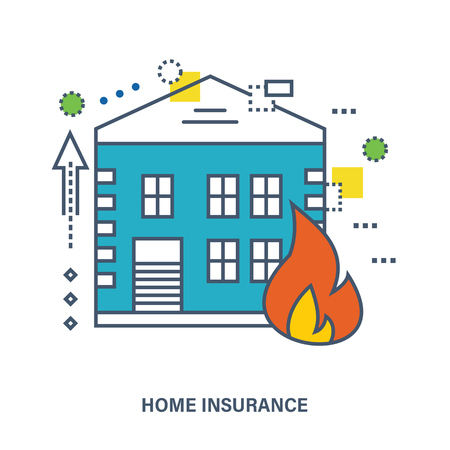 fire protection: Concept of home insurance. Fire protection. Flat Vector illustration. Can be used for banner, business data, web design, brochure template.