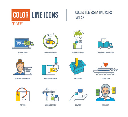 refund: Color Line icons collection. Eco delivery, express and fast delivery, transport protection, contract with agent, tracking number, cargo ship, refund, courier, manager