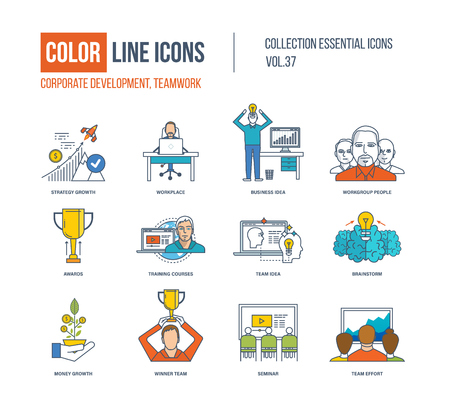 corporate team: Color Line icons collection. Corporate development, teamwork concept. Strategy growth, workplace, business idea, workgroup people, training courses, brainstorm, money growth winner team seminar