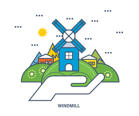 wind mills: Windmill building on a green hill near the village houses. Concept of eco friendly life. Flat Vector illustration.