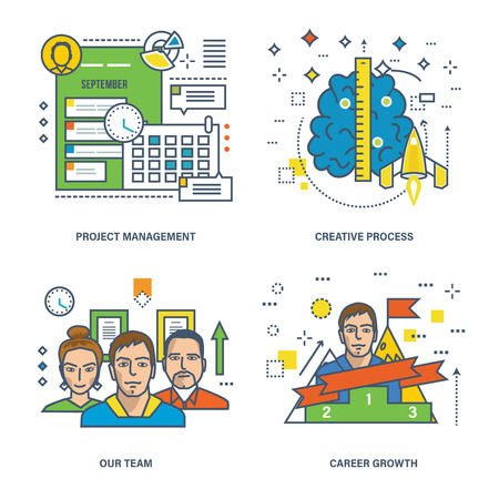 career management: Concept of project management, creative process, our team and career growth. Color Line icons collection.