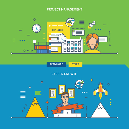Concepts for Project management and Career growth. Color Line banners design collection.