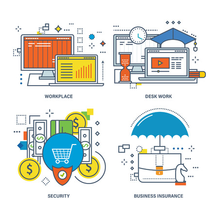education icons: Concept of desk work, marketing, workplace, education, security, and business insurance. Color Line icons collection Illustration
