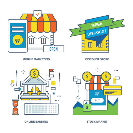 discount store: Concept of mobile marketing, discount store, online banking, stock market. Color Line icons collection.
