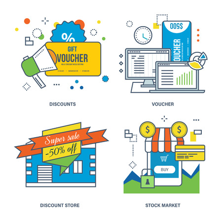 discount store: Concept of discounts, voucher, discount store, stock market and shopping. Color Line icons collection. Illustration