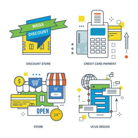 discount store: Concept of discount store, credit card payment, store, UX design. Color Line icons collection.