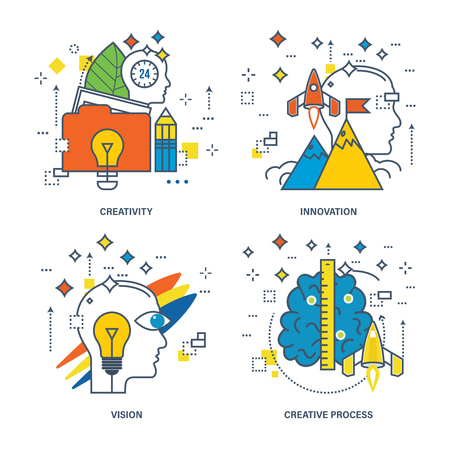 creativity: Concept of creativity, innovation, vision, creative process. Color Line icons collection Illustration