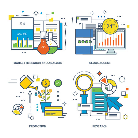 market place: Concept of market research and analysis, 24 hrs clock access, promotion, research. Color Line icons collection. Illustration