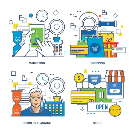 marketing concept: Concept of marketing, online shopping, business planning, store. Color Line icons collection Illustration