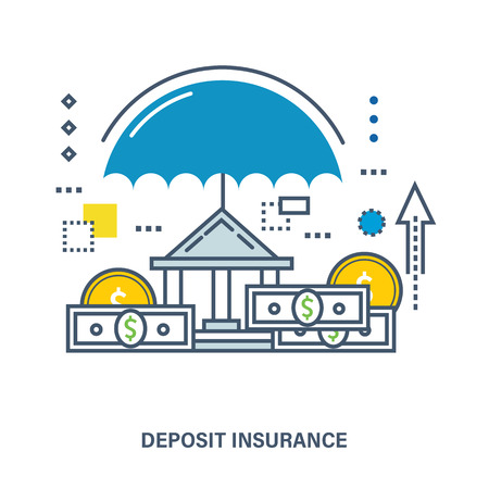 pledge: Concept of deposit insurance. Flat Vector illustration. Can be used for banner, business data, web design, brochure template.