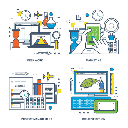 desk work: Concept of desk work, marketing, creative process and project management. Color Line icons collection.