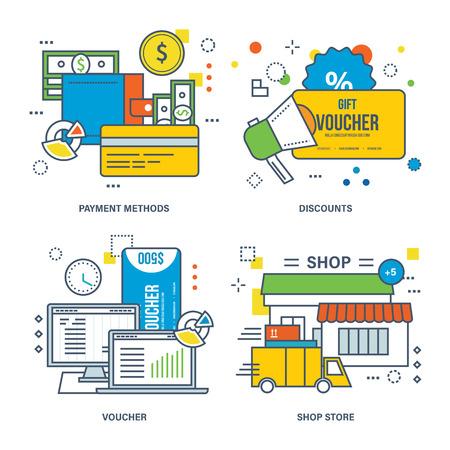 discount store: Concept of payment methods, discount, voucher, shop store. Color Line icons collection