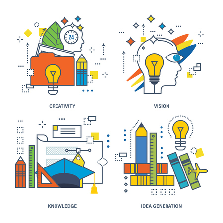 idea generation: Concept of creativity, vision, knowledge, idea generation. Color Line icons collection