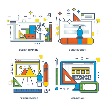 construction projects: Concept of design training, construction, design project, web design. Color Line icons collection.