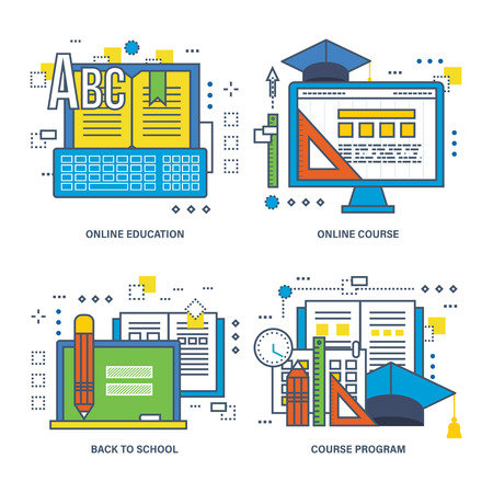 education icons: Concept of course program, online education, back to school. Color Line icons collection.