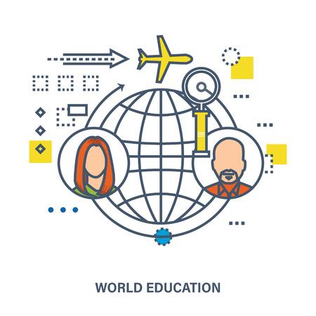 cognicion: La educación global y el mundo - concepto de ilustración vectorial. La ilustración se puede utilizar para ilustrar la educación, la ciencia y las comunicaciones.