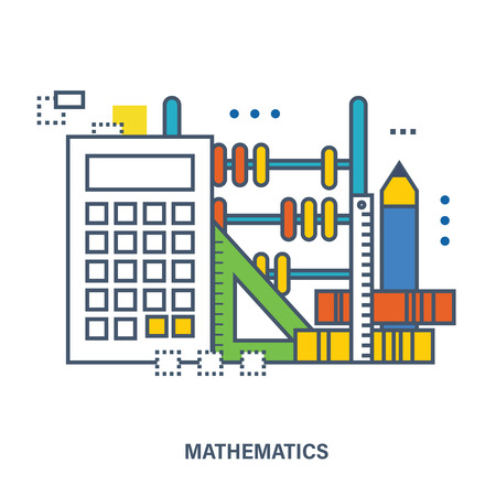 natural science: Concept of natural science of mathematics - the equipment in mathematical science, accurate calculations. Flat vector illustration.