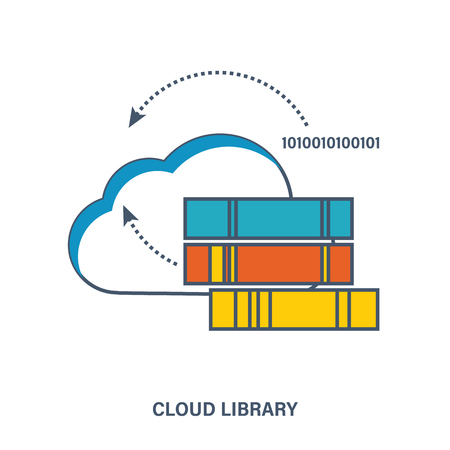 digital library: Concept of digital library in the cloud. Flat vector illustration.