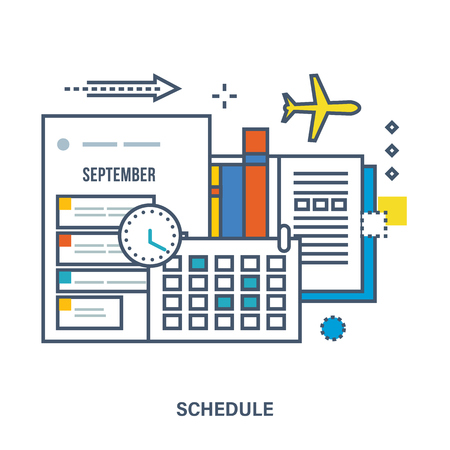 planning: Concept of education, strategic planning. Schedule, planning, calendar and time. Can be used for banner, business data, web design, brochure template. Vector illustration. Illustration