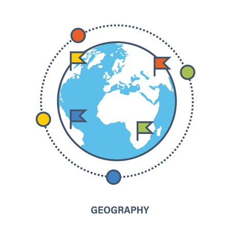 discipline: Concept of education. Geography as a subject discipline. Flat Vector illustration. Can be used for banner, business data, web design, brochure template.