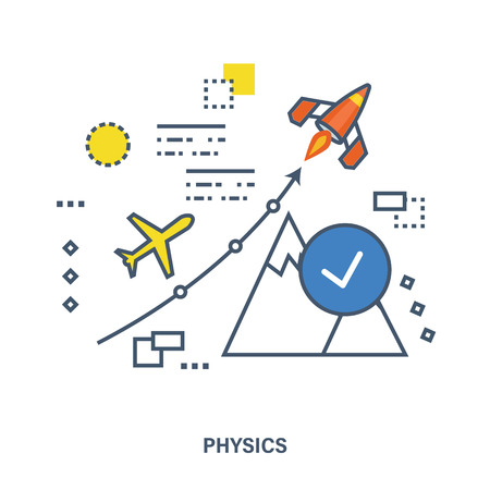 The concept and meaning of illustration - physics as a humanitarian science and educational discipline. Can be used for banner, business data, web design, brochure template. Illustration
