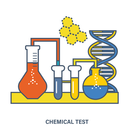 Concept of education. Chemical testing, conducting experiments and equipment research testing. Flat Vector illustration. Can be used for banner, business data, web design, brochure template. Illustration